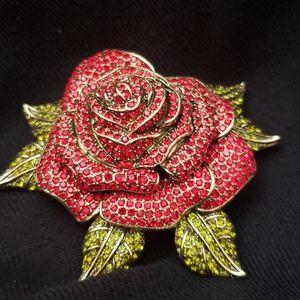 Heidi Daus Red Rose Brooch